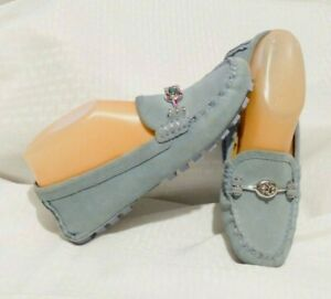 Coach-Arlene-Suede-Loafers-Baby-Blue-Sz-6-Turn-lock-Accent
