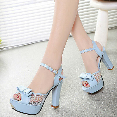 Fashion Womens Sexy Ankle Strap Open Toe Bowknot Pumps Platform High Heels Shoes