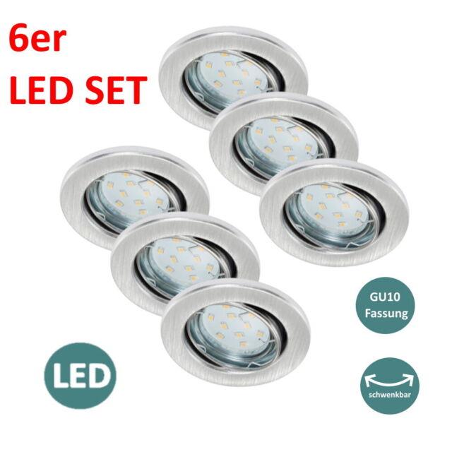 6er Set LED Spots Decken Lampen Einbau Leuchten DIMMBAR verstellbar Strahler