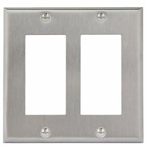 2 Gang Brushed Stainless Steel Rocker Switch Metal Outlet Cover Wall