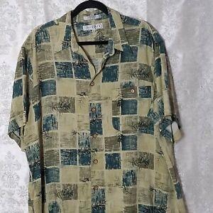 Imprints-Hawaiian-Shirt-Mens-XL-Checkerboard-Shades-of-Green-Floral-S-S