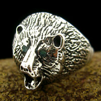 Sterling Silver Men's Bear Head Ring - Select Size --- R30 Z