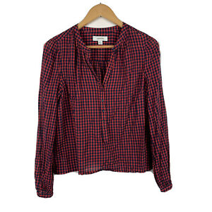 Country-Road-Womens-Blouse-Size-Medium-Long-Sleeve-Red-Black-Check-Good-Conditio