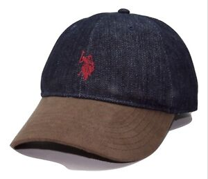 3bbad928100 US Polo Assn. Logo 2 Tone Adjustable Denim   Suede Baseball Cap Dad ...