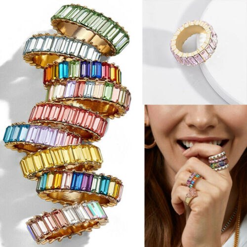 Rainbow Crystals Baguette Band Ring Stackable Eternity Band Cubic Zirconia Ring