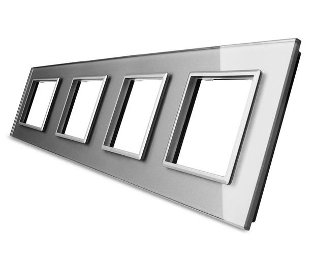 LIVOLO Design Lichtschalter Wandschalter Wippschalter Kippschalter Glas Grau Grau Grau  | Queensland  30cdee