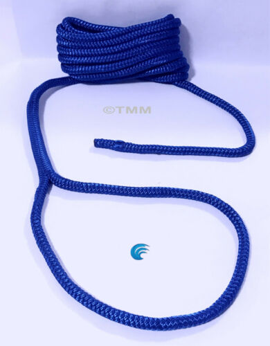 """2 Blue Double Braided 1//2/"""" x 15/' HQ Boat Marine DOCK LINES Mooring Rope Cord"""