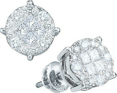 14K Solitaire Look Princess and Round Cut Si Clarity Diamond Stud Earrings 6 MM