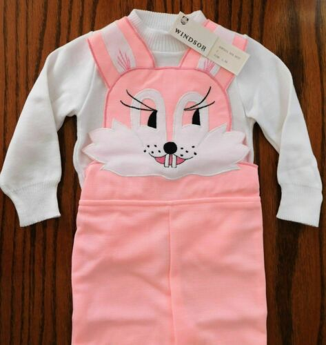 Vintage baby clothes RABBIT dungarees set outfit age 2 UNUSED girls toddlers