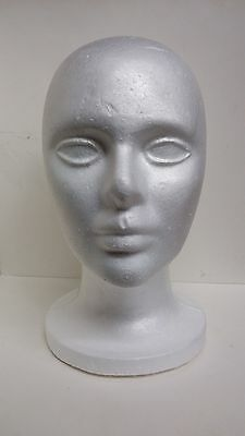 NEW FOAM HEAD STYROFOAM MANNEQUIN WITH WIG HAT CAP WIDE BASE DISPLAY HOLDER