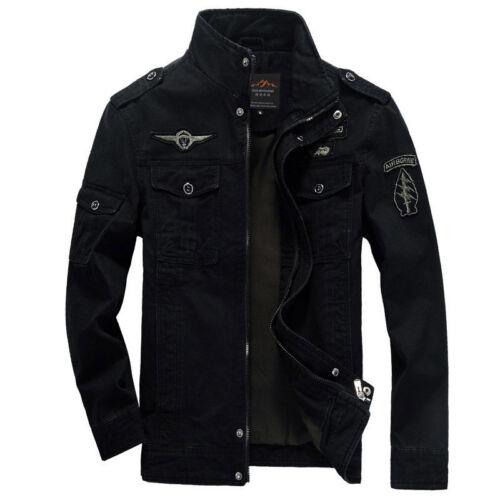 Men/'s Military Jackets Air Force Army Slim Fit Zip Vintage Jacket Coat Brand New