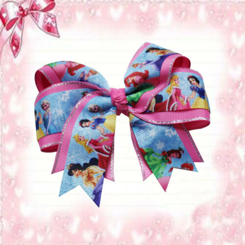 "20 BLESSING Happy Girl 4.5/"" Princess Cheer Hair Bow Clip Cinderella Snow White"