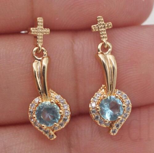 18K Gold Filled Cross Spoon Swirl Sapphire Topaz Hollow Prom Stud Earrings