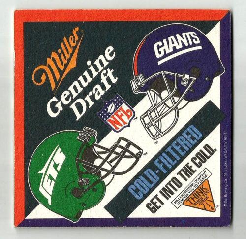 10 Miller Genuine Draft  Giants Jets NFL  Beer Coasters