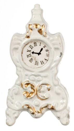 Dollhouse Miniature White Mantle Clock