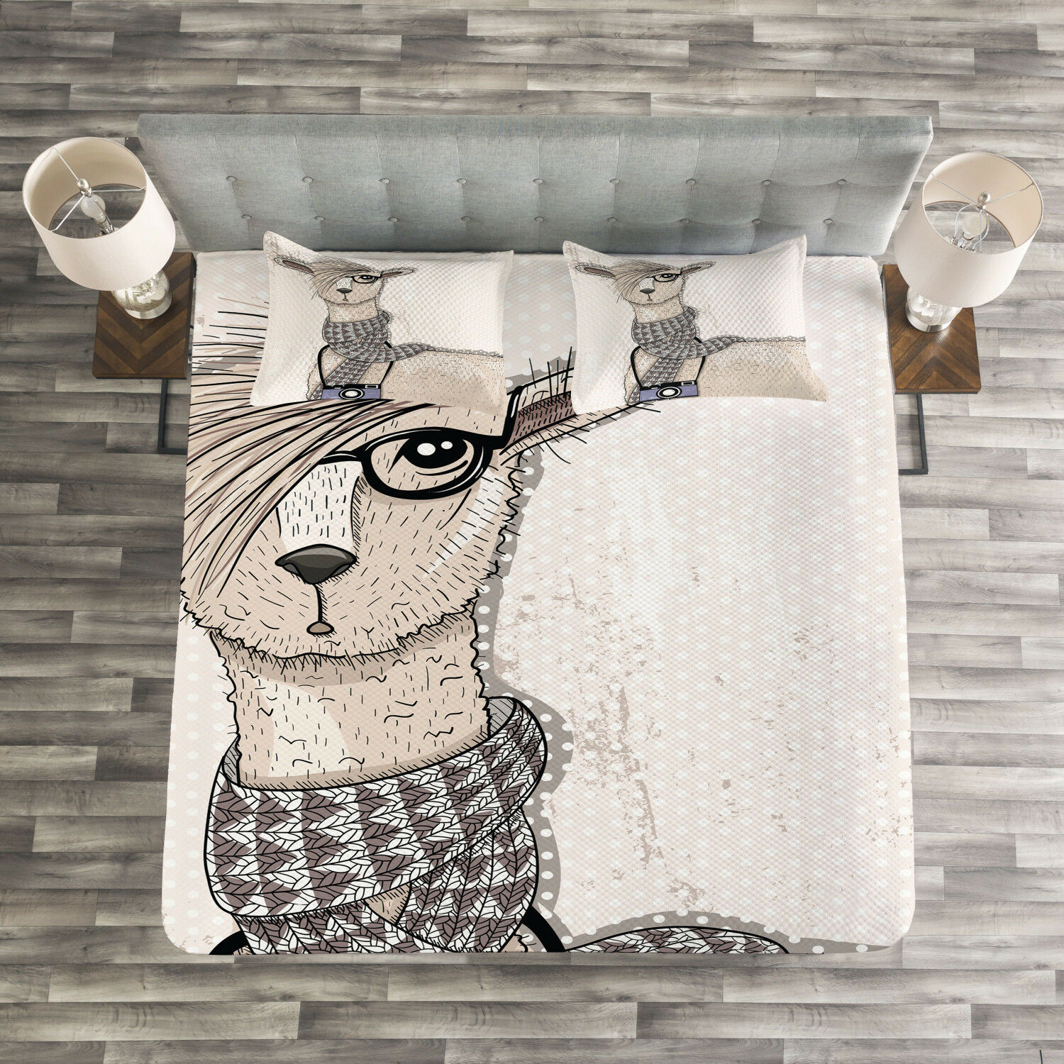 Animal Quilted Bedspread & Pillow Shams Set, Llama with Glasses Scarf Print