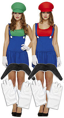 Ladies Mario Luigi 80s 90s Fancy Dress Costume Outfit Girls Lady Plumber 8-10