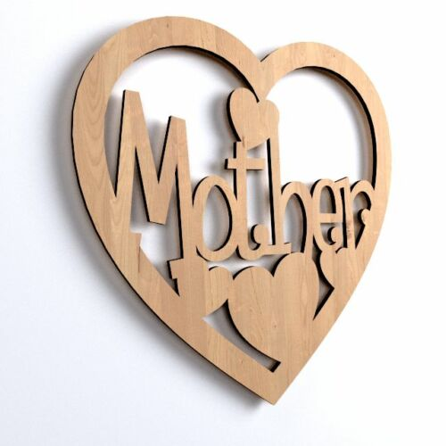 V31 * 10x Natural Wood Heart-Shape Mother Mama Blank Craft Paint DYI Decoration