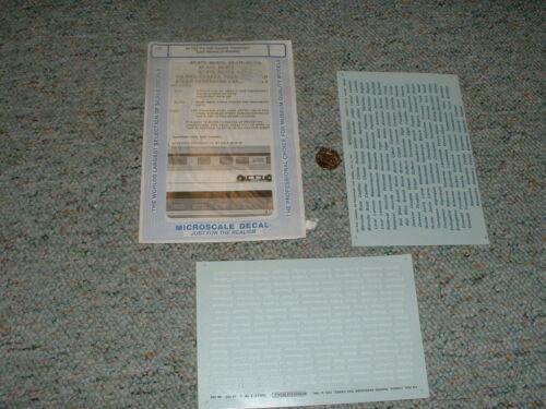 F27 Microscale decals O Gauge 48-182 Via Rail Canada car names passenger  2 sh
