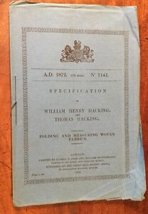 1872-Weaving-Specification-Of-William-Henry-Hacking-Folding-Woven-Fabrics