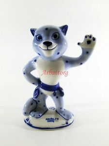 Mascot GZHEL Porcelain Russia Sochi 2014 Olympics Leopard