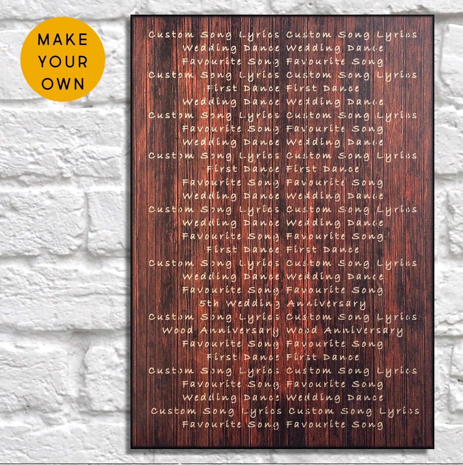 Personalised 5th anniversary song lyric Gift for him her Panel effect Wood sign