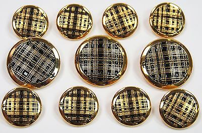 Criss Cross Gold Blazer Buttons Set For Suit, Blazer, or Sport Coat Solid Metal