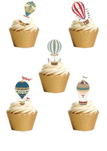 12 Stand Up magnifique Vintage Hot Air Ballons plaquette papier comestibles gâteau Toppers