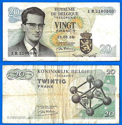 KING BAUDOUIN I 20 FRANCS BELGIUM BANKNOTE 1964 FREE SHIPPING