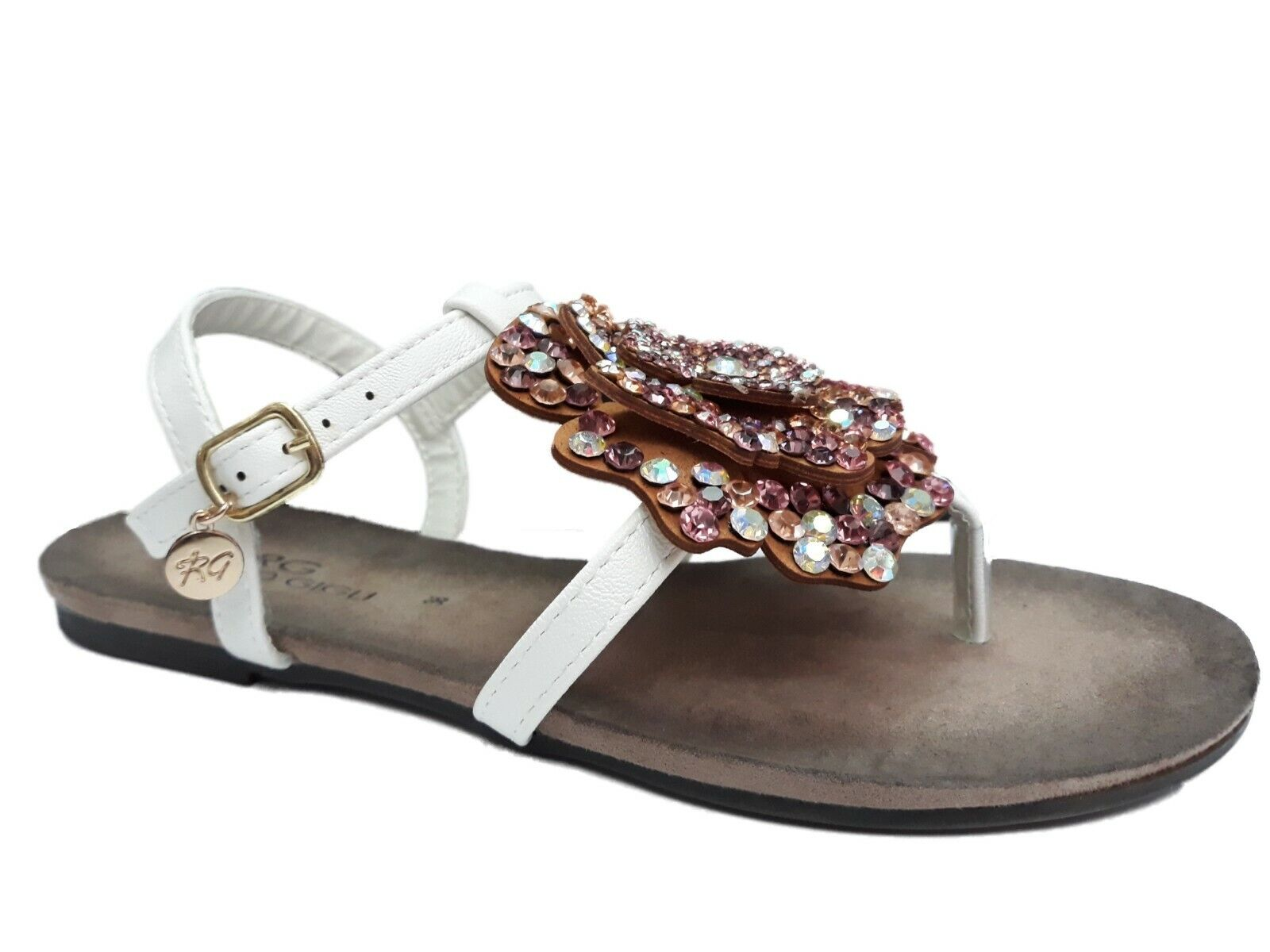 mujer Thong Sandals with Buckles ROMEO GIGLI Leather blanco Number 38