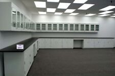 39 Base Amp 36 Wall Laboratory Cabinet Group With Black Tops Amp Bench Area E1 054