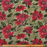 Marcus Brothers/ Karen Jarar Christmas Poinsettias Fabric 26 L X 44 W (green)