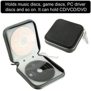BLACK-CD-DVD-40-Disc-Disk-Case-Sleeve-Wallet-Holder-Storage-Portable-Plastic-Bag