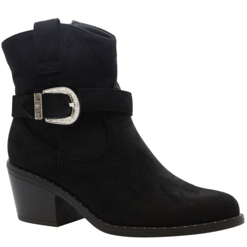 Ladies Calf Ankle Western Boots Pointed Toe Mid Block Heels Womens Cowboy Shoes