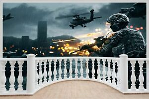 Image Is Loading Huge 3D Balcony Army Fighters Planes Wall Stickers
