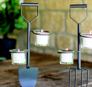 Mothers Day Gift Contemporary Metal /& Glass Spade and Fork Tea light Holders