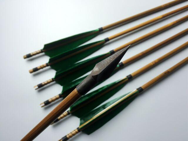 6X Handmade Hunting Green bamboo arrows shaft Broadheads For Archery Recurve bow