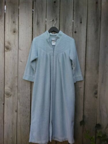 Ladies Medium Chenille Bath Robe, Long Light Blue