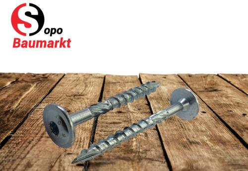 50 Stück Holzbauschrauben Tellerkopfschrauben 8,0x80 hell verzinkt mit ETA
