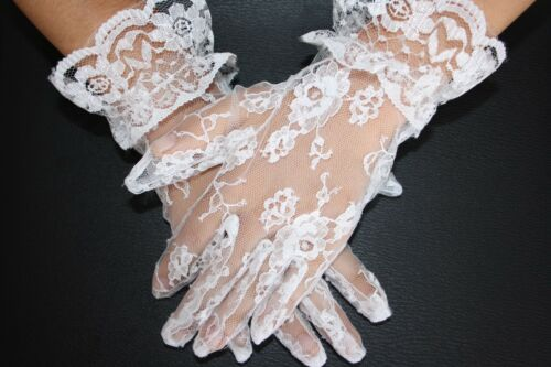 SNS603 Girls WHITE Satin Lace First Communion Gloves.