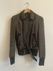 French-Connection-Womens-Jacket-Size-4-Brown-Wool-Long-Sleeve-Blazer-Coat-Casual