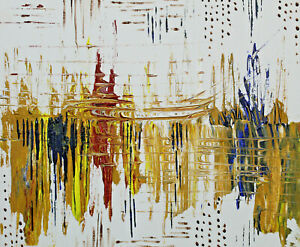 Abstract-art-gold-red-yellow-blue-reflection-lake-original-acrylic-painting