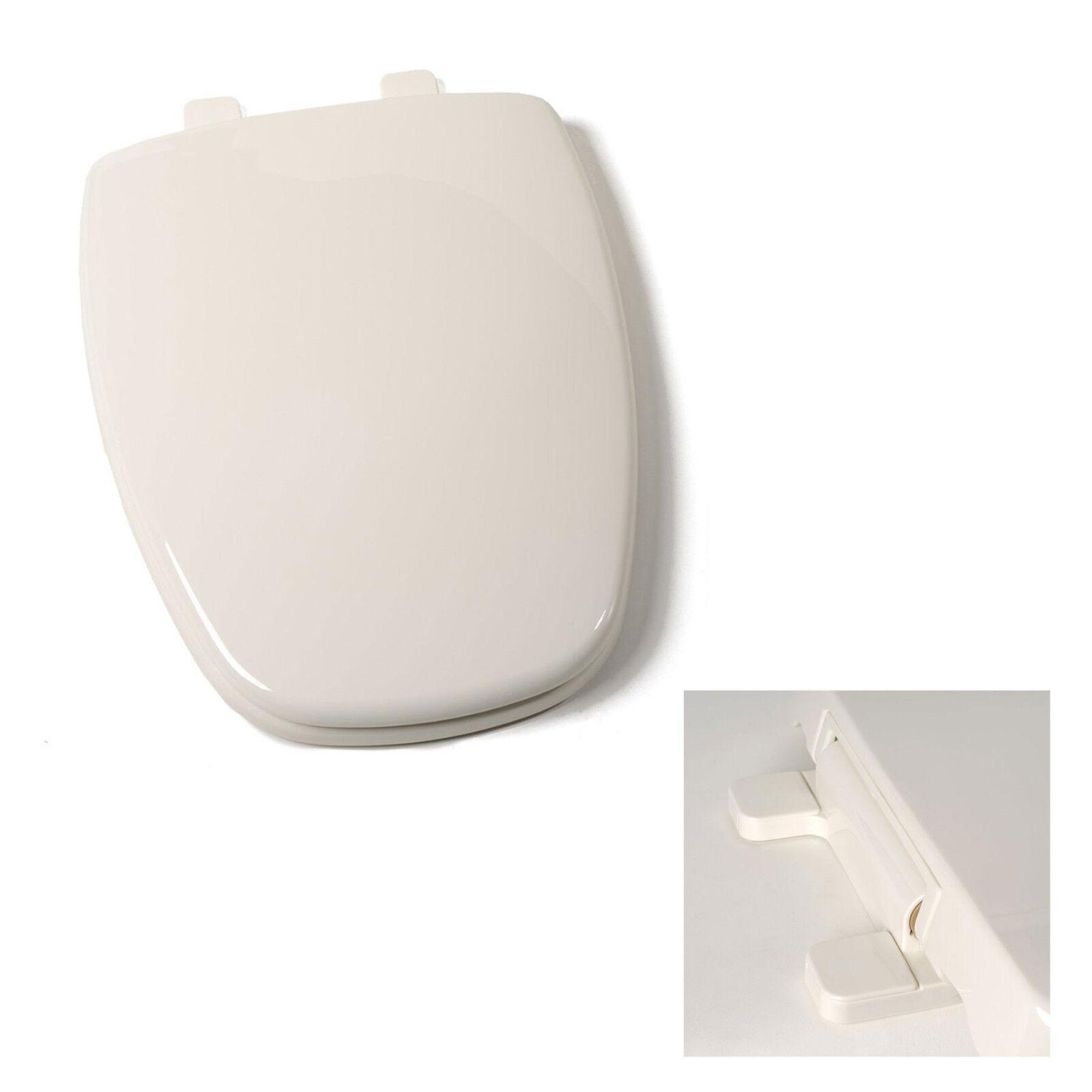 Round Molded Wood Toilet Seat Slow Close ∙ Easy Remove ∙ Adjustable Hinge Bone