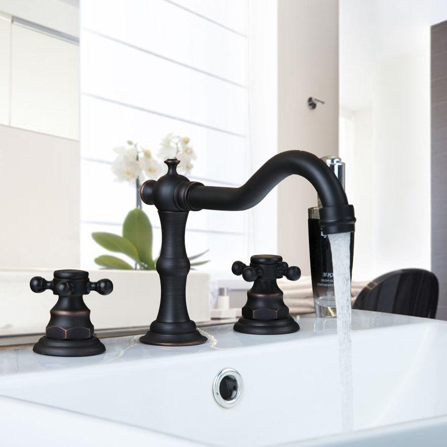 3PCS rubinetto del bagno Vasca da Bagno Nero OLIO Doppia maniglie diffuso miscelatori