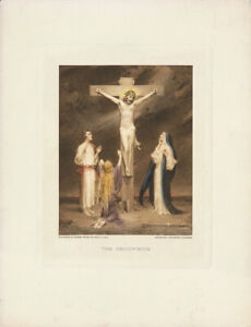 C-B-CHAMBERS-Vintage-c1927-Hand-colored-Photogravure-of-Jesus-THE-CRUCIFIXION