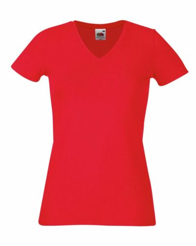 Fruit Of The Loom LADIES T-SHIRT V-NECK LADY FIT COTTON LYCRA TOP TEE XS-2XL