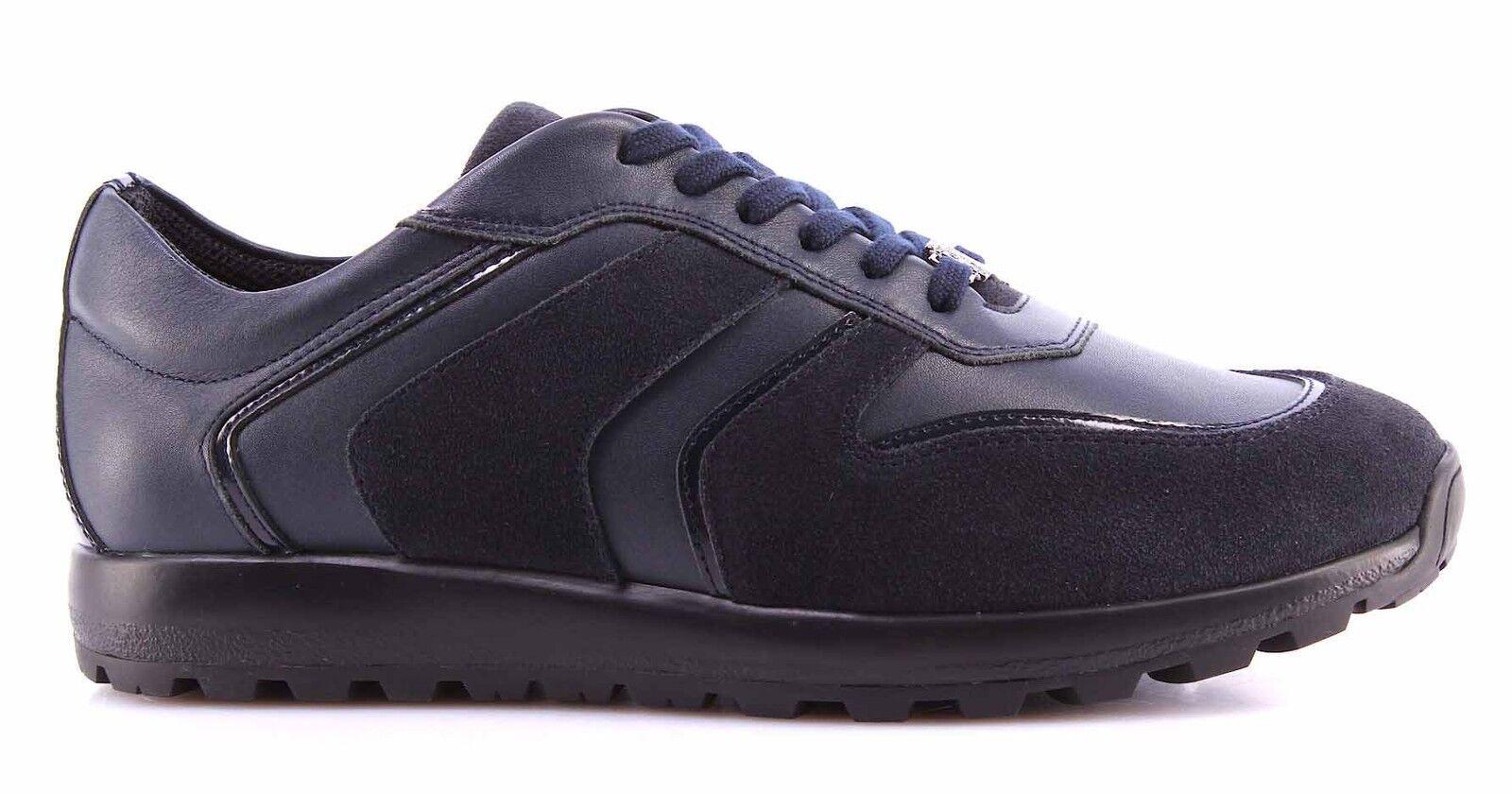 Herren V400C Sneakers Schuhe VERSACE COLLECTION V400C Herren Leder Blau Made In  Neu New 22aaff