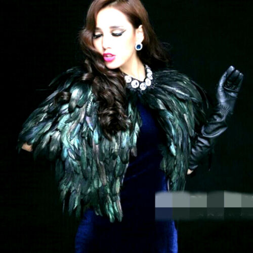 Nightclub Kvinders Cape Sexet Short Jacket Dancing Coat Feather Chic Faux Peacock 6nnUZqzC
