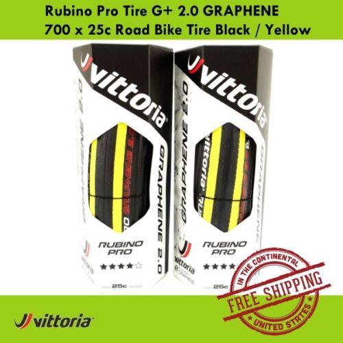 Vittoria Rubino Pro Tire G Yellow 2.0 GRAPHENE 700 x 25c Road Bike Tire Black