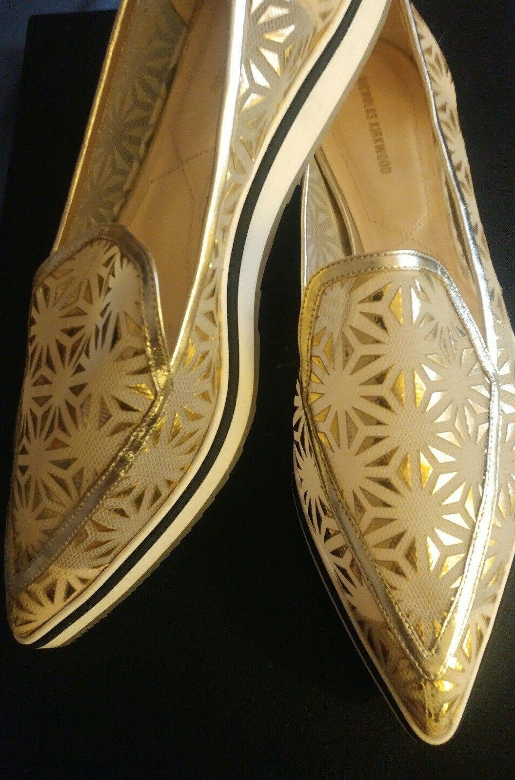 godendo i tuoi acquisti Nicholas Nicholas Nicholas Kirkwood donna Mesh Lazer Cut Prism oro Slip-on,  Dimensione 40.5  bellissimo